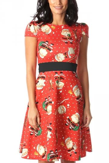 Crew Neck Santa Christmas Dress Red