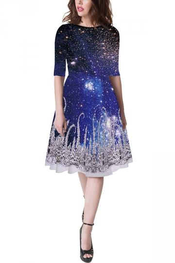 Half Sleeve Crew Neck Galaxy Dress Blue