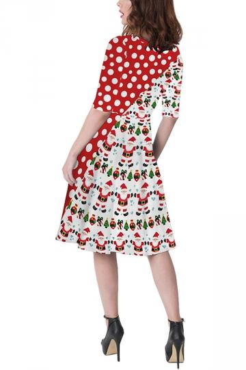Polka Dot Christmas Santa Dress White