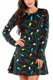 Crew Neck Color Light Christmas Dress Black
