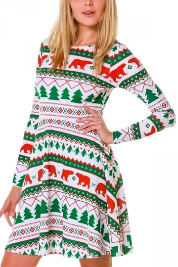 Long Sleeve Bear Christmas Swing Dress White