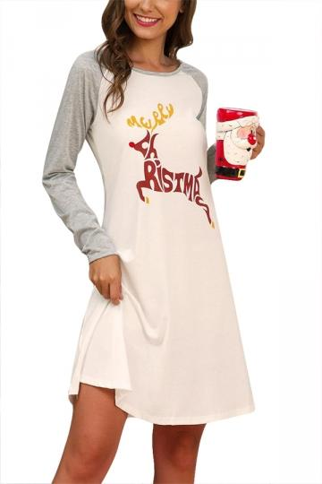 Long Sleeve Reindeer Christmas Dress Gray