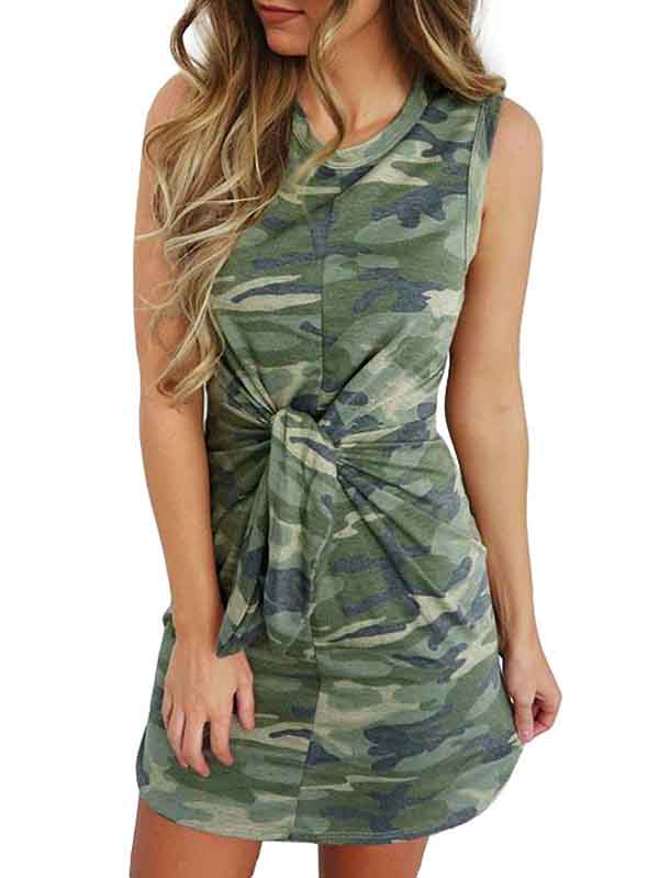 Casual Camo Knot Front Tank Dress