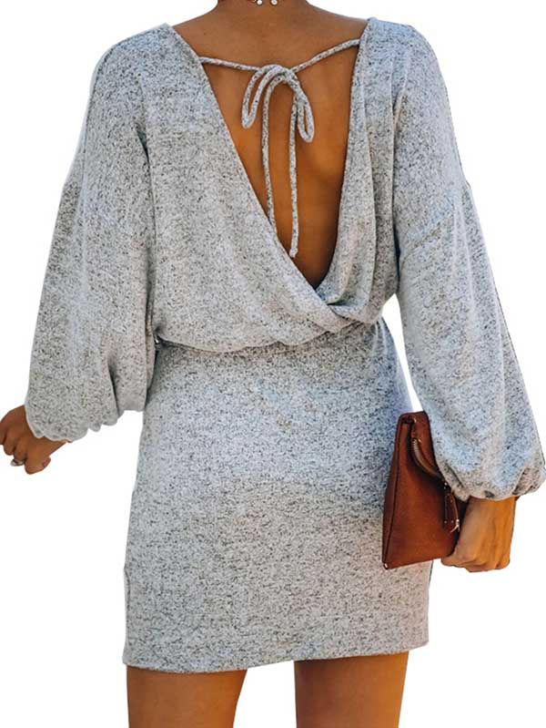 Lantern Sleeve Mini Gray Dress