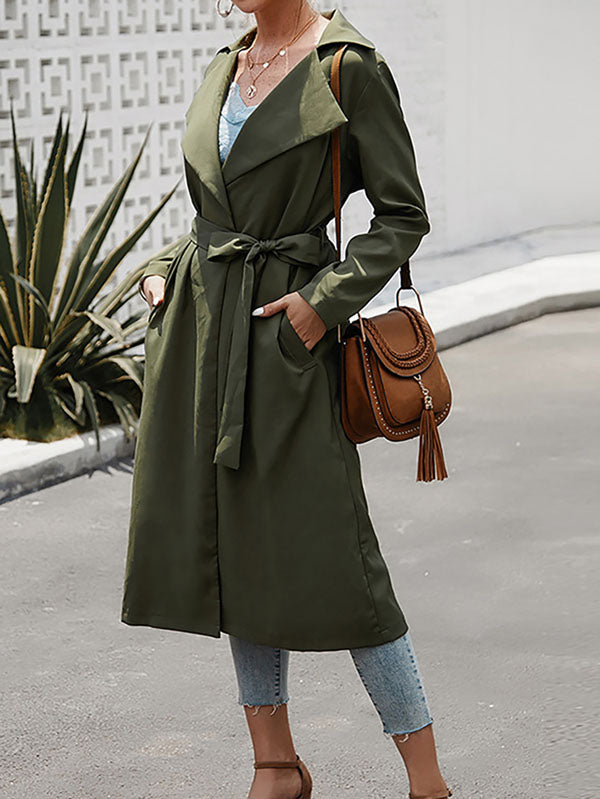 Lapel Belted Long Trench Coat For Women