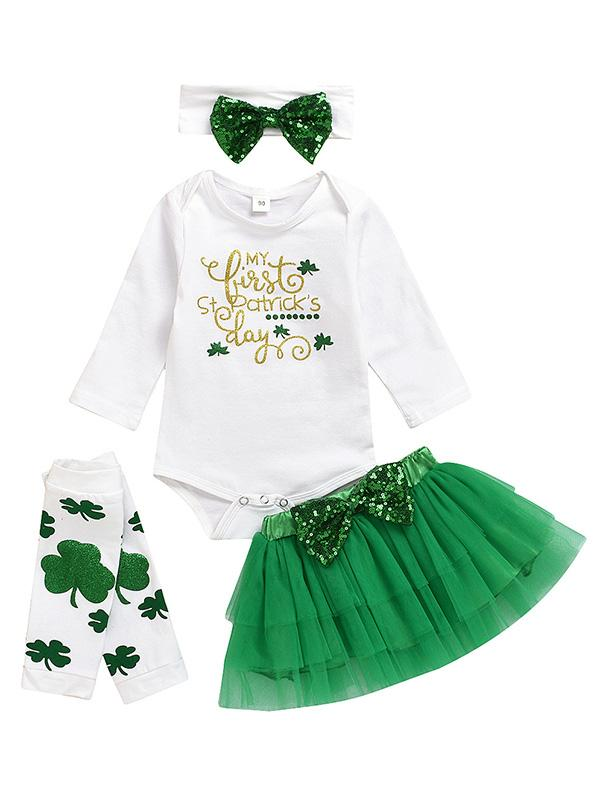 St. Patricks Day Baby Girls Outfit Green Tutu Dress Set