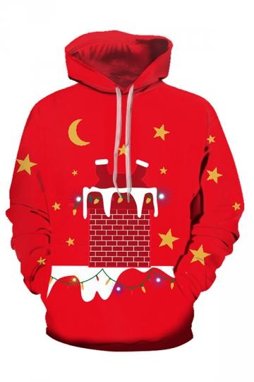 Santa And Chimney Christmas Hoodie Crimson