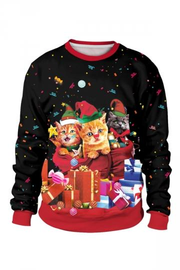 Cute Cat Present Christmas Sweatshirt
