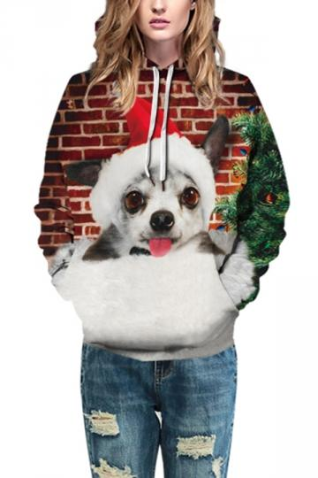 Cute Puppy Print Christmas Hoodie Dark Red