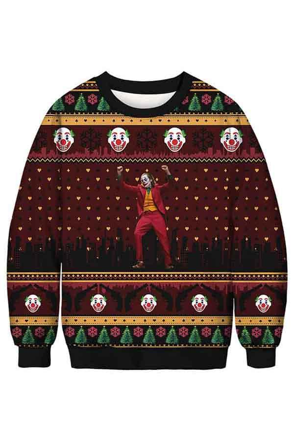 Casual Christmas Clown Print Long Sleeve Crew Neck Sweatshirt Dark Red