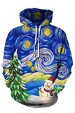 Christmas Graffiti Long Sleeve Pocket Casual Hoodie Sapphire Blue