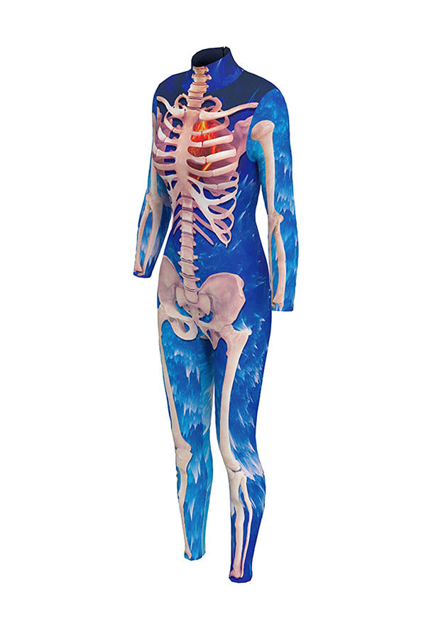 Blue Skeleton Print
