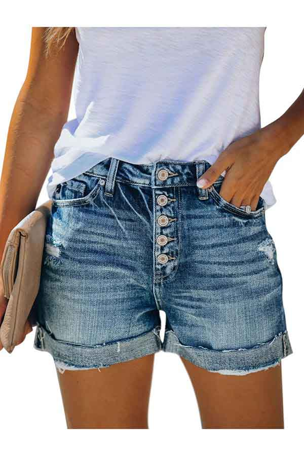 Women's Casual Single Breasted Front Button Down Junior Denim Shorts