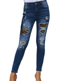 Women's Ripped Skinny Jeans Distressed Denim Pants
