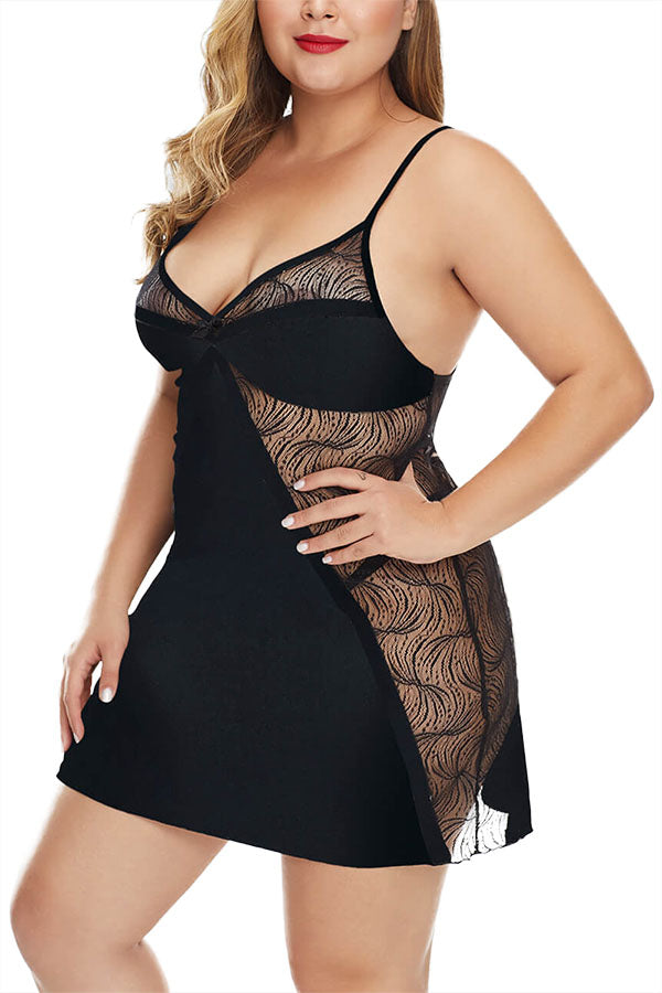 Plus Size Sheer Slip Babydoll Set