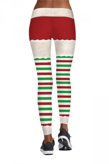Striped Christmas Workout Leggings Beige White