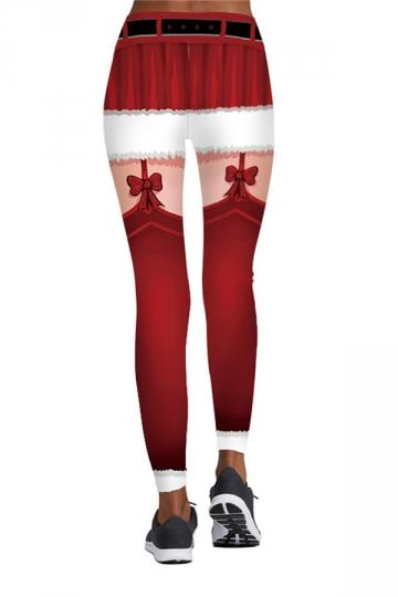 Creative Christmas Leggings Bowknot Printed Funny Bottoms
