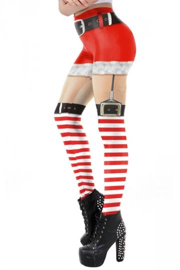Womens Christmas Santa Leggings Apricot