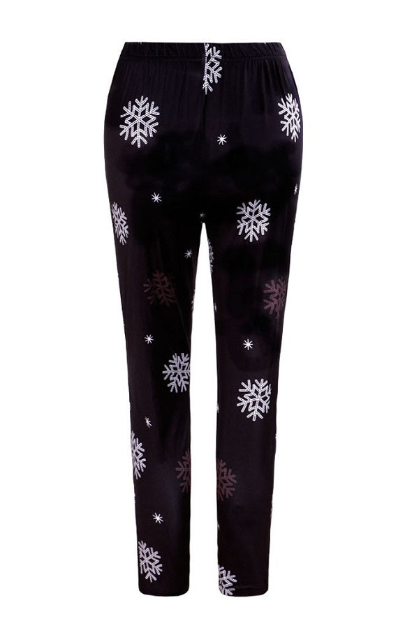 Christmas Leggings Black Snowflake Printed