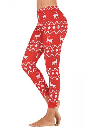 Womens Christmas Reindeer Leggings Red