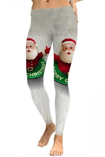 Womens Christmas Santa Leggings White