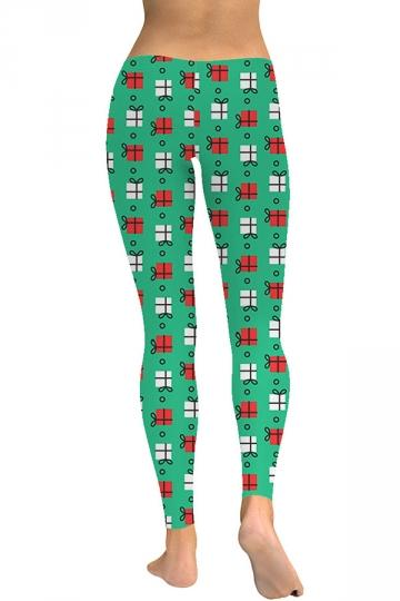 Womens Present Print Christmas Leggings Green