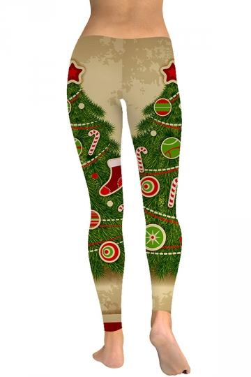 Candy Cane Christmas Tree Leggings Green