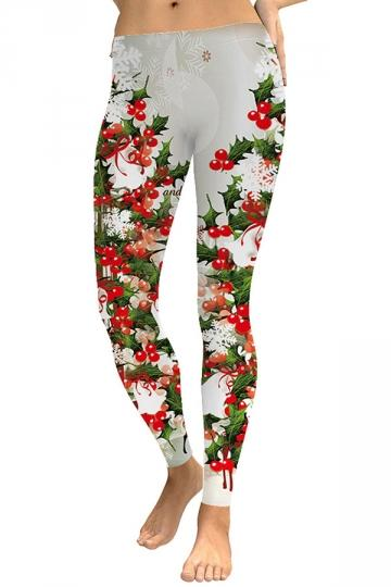 Snowflake Mistletoe Xmas Leggings White