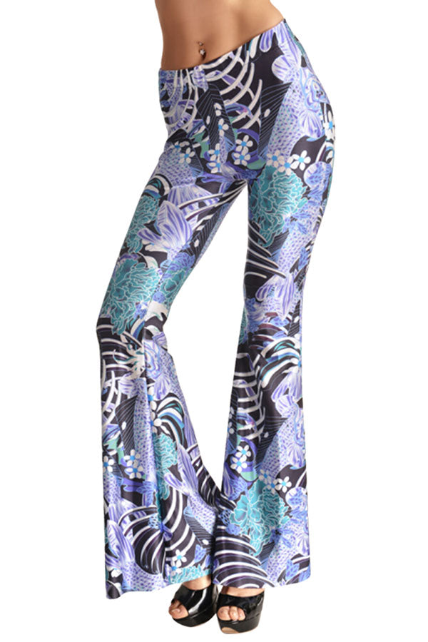 Women's High Waisted Digital Printed 70's Flare Pants
