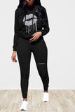 Women's 2 Piece Outfits Lip Print Hoodie And Sweatpants Set