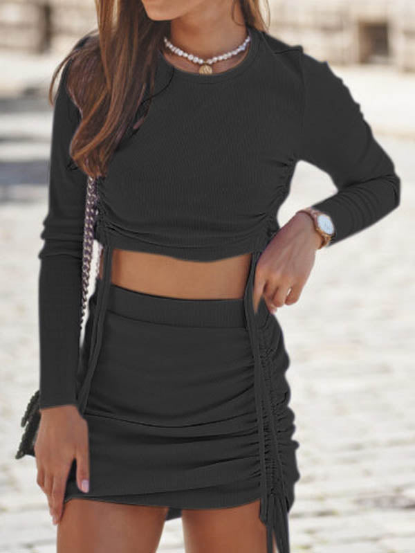 Long Sleeve Ruched Crop Top And Skirt Set