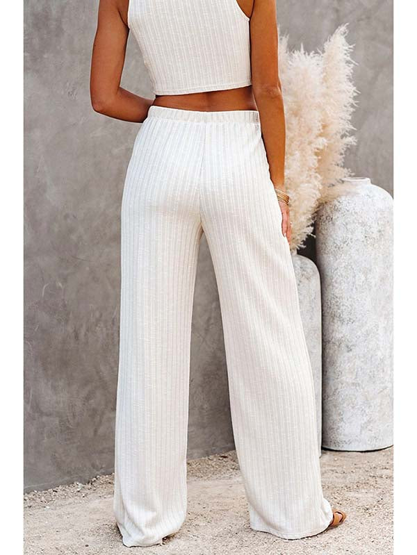 Ribbed Knit Tank Crop Top & Wide Leg Pants 2 Piece Outfits