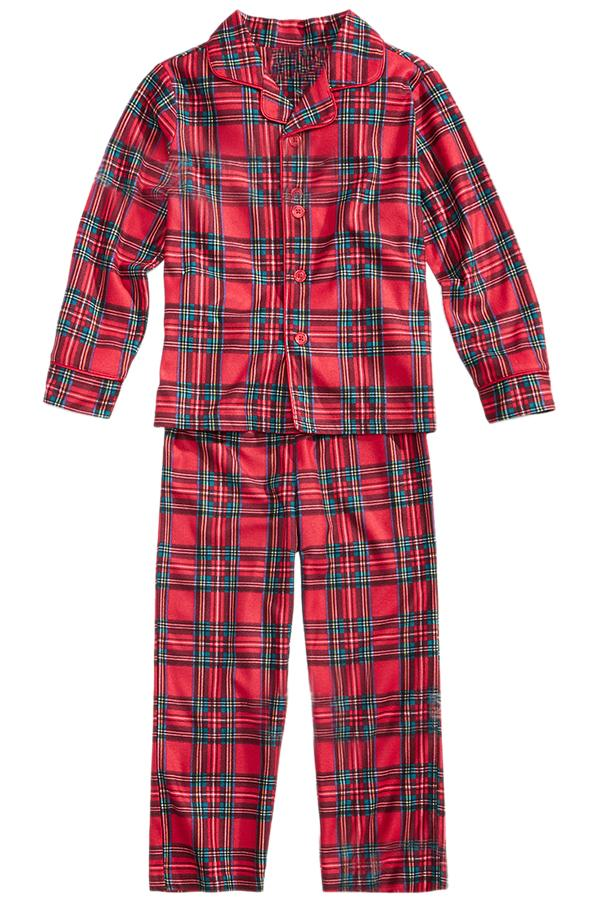 Kids Long Sleeve Striped Family Christmas Pajama Set Watermelon Red