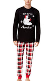 Mens Plaid Bear Snowflake Printed Family Christmas Pajama Set Black