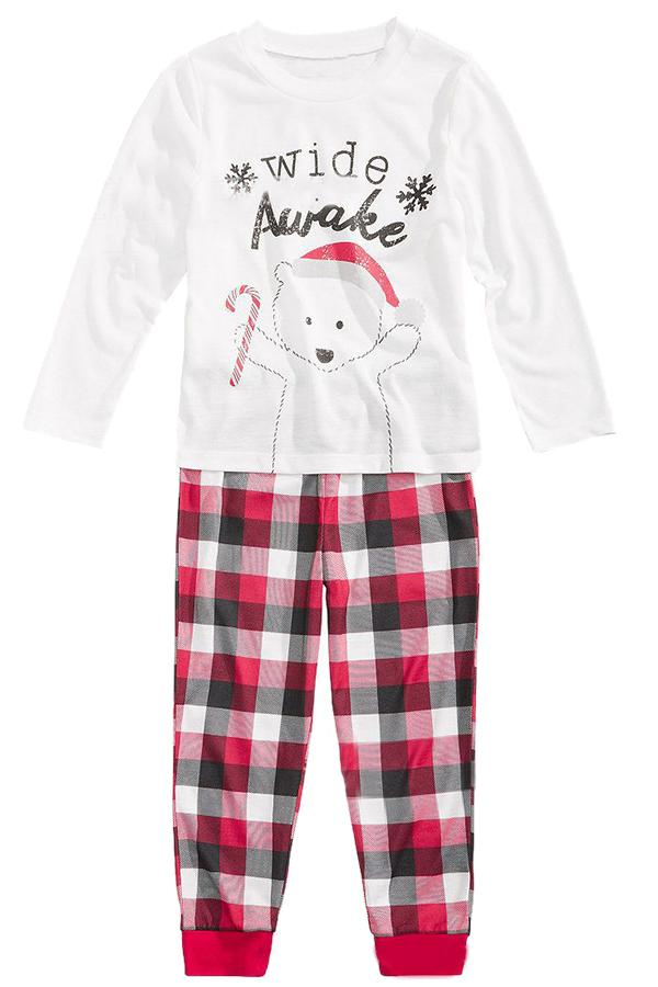 Kids Plaid Bear Snowflake Printed Family Christmas Pajama Set Red