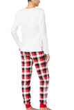 Womens Plaid Bear Snowflake Printed Family Christmas Pajama Set White
