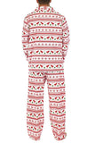Mens Snowflake Reindeer Printed Family Christmas Pajama Set White