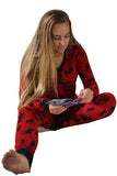 V-Neck Button Reindeer Printed Christmas Long Pajama Set Dark Red