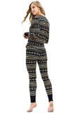 Button Down Front Snowflake Print Christmas Pajamas Set Black