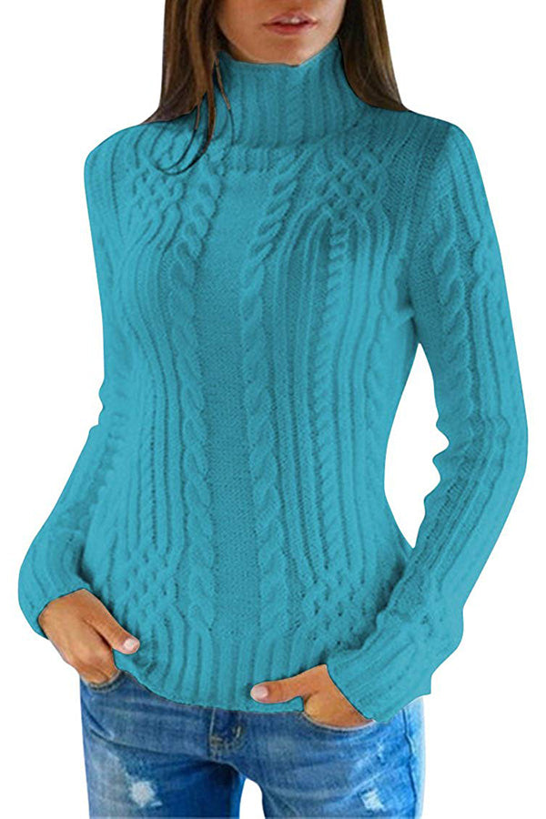 Women's Cable Knit Turtleneck Casual Pullover Sweater