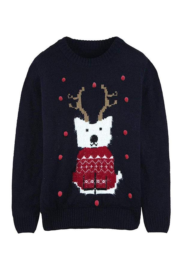 Womens Dog With Elk Antlers Ugly Christmas Sweater Navy Blue
