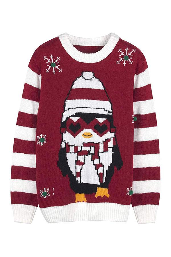 Womens Crew Neck Penguin Snowflake Ugly Christmas Sweater Red