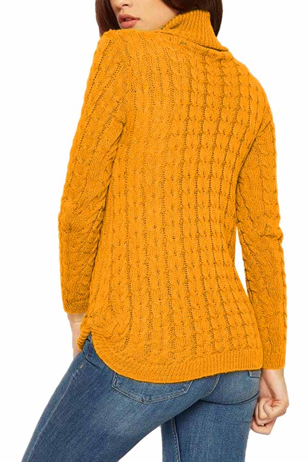 Cable Knit Turtleneck Plain Pullover Sweater