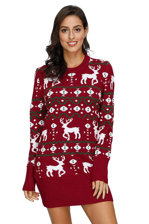 Reindeer Print Pullover Sweater Dress Red