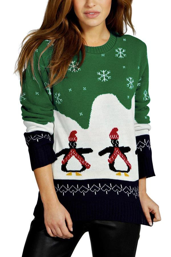 Christmas Penguin Snowflake Sweater Green