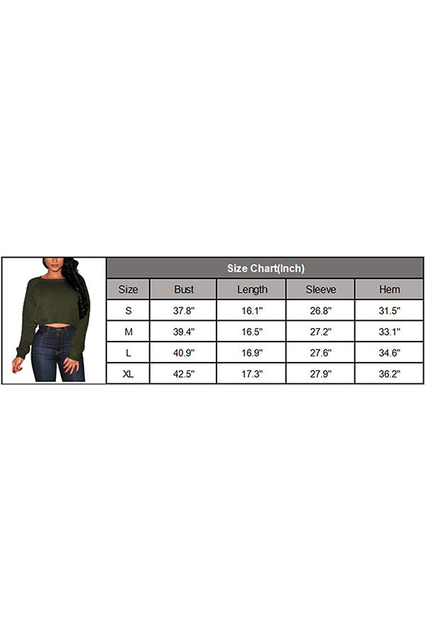 Women's Knit Long Sleeves Cropped Sweater Top