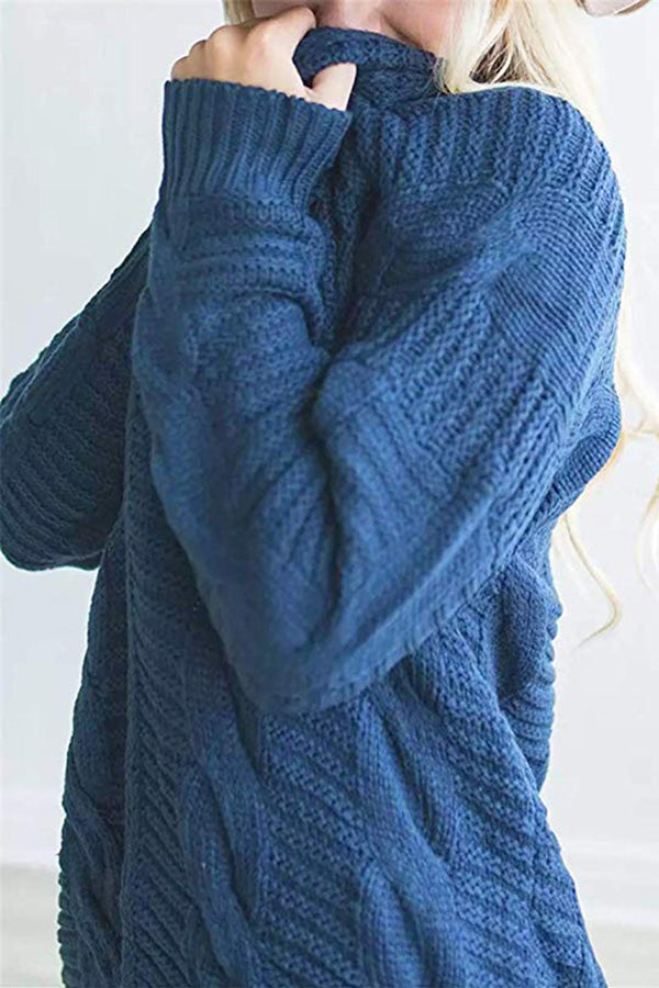 Cable Knit-Turquoise Blue