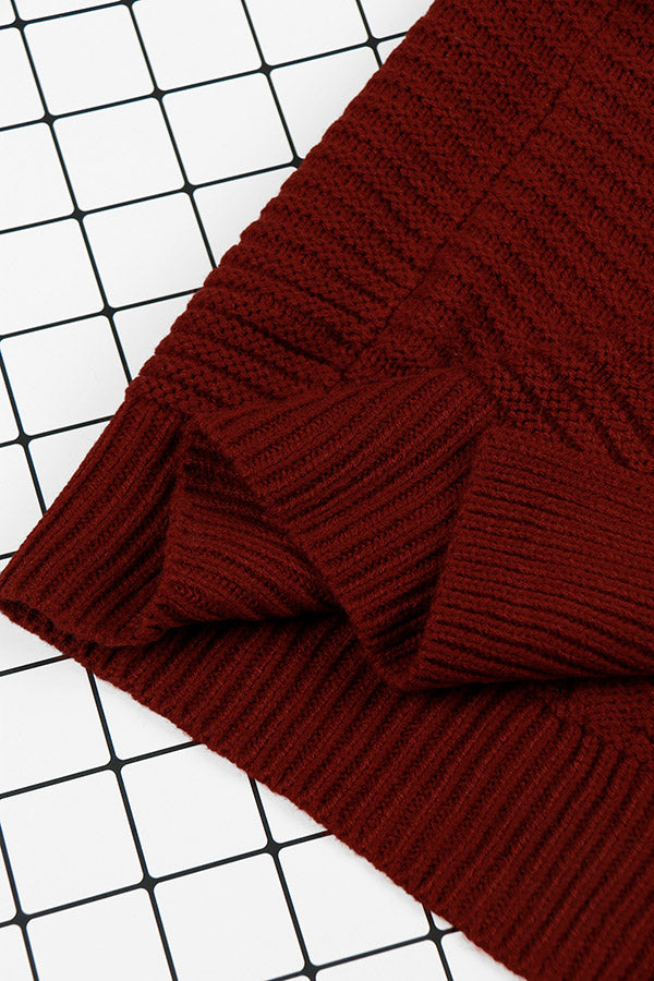 Cable Knit-Wine Red