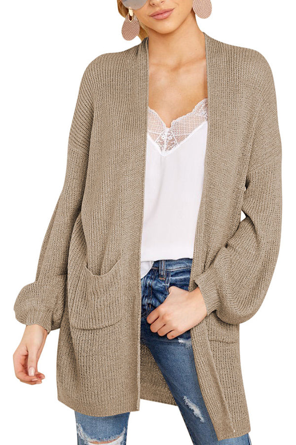 Women's Open Front Knitted Long Cardigan Sweater