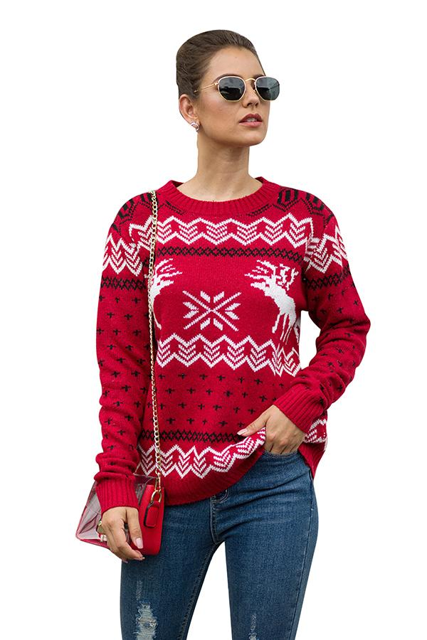 Womens Christmas Reindeer Print Pullover Sweater Red